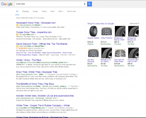 Typical Google search result - 1 to 4 paid ads above page fold.